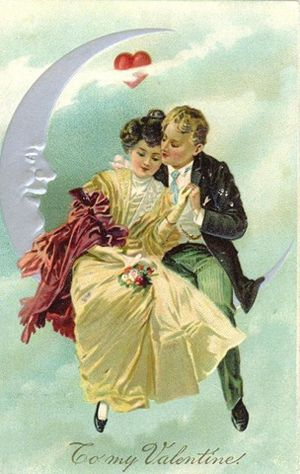 Vintage-valentines-day-card-couple-in-paper-moon